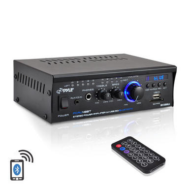 Pyle PCAU48BT 2 x 120W Bluetooth Stereo Power Amplifier USB/SD AUX & Remote Thumbnail 2