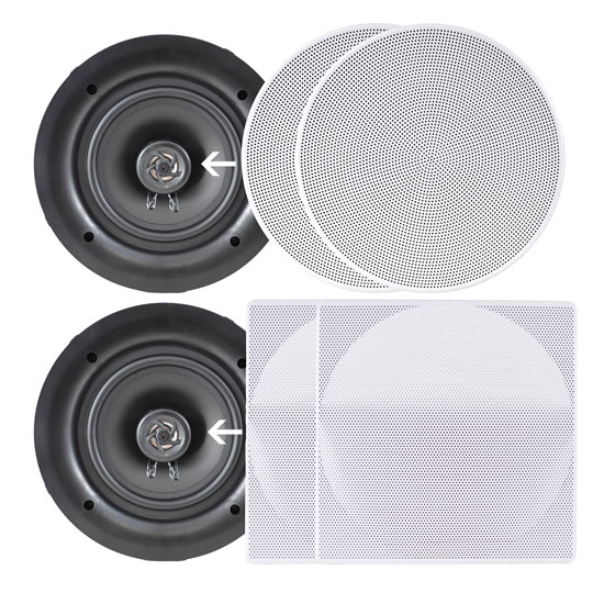 "Pyle PDIC106 10"" In-Wall Ceiling Flush Mount Two Way Stereo Speakers"
