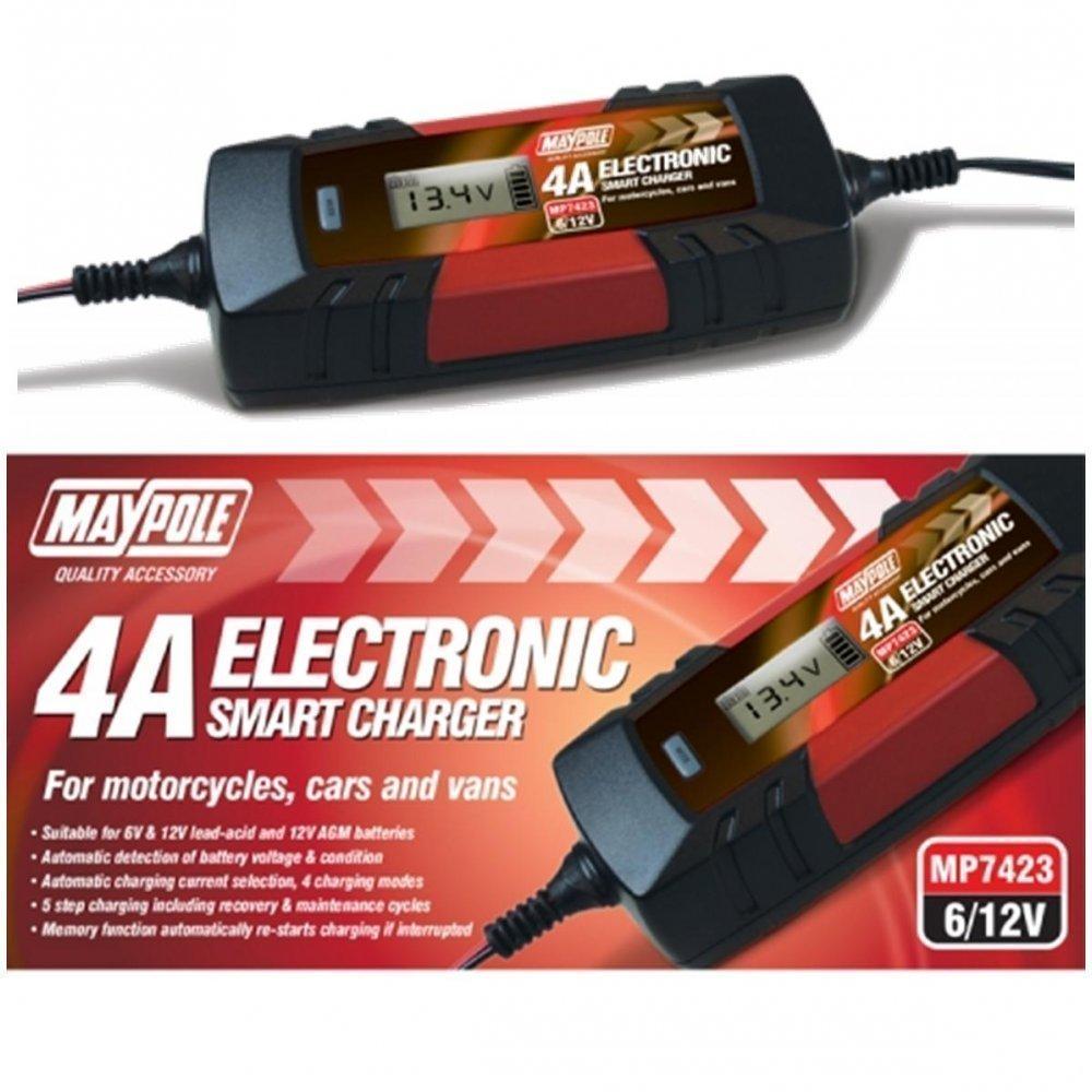 Maypole MP7423 Car Bike 6V 12V Volt 4A Amp None Gel Battery Charger Single