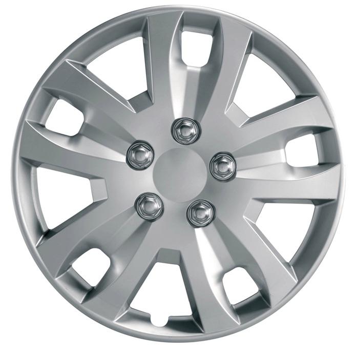 """Gyro 13"""" Car Wheel Trims Hub Caps Plastic Covers Set of 4 Silver Universal"""