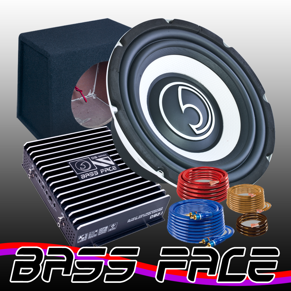 Bass Face 10 25cm 1100w Car Subwoofer 800w Amp Sub Box Wiring Kit Package