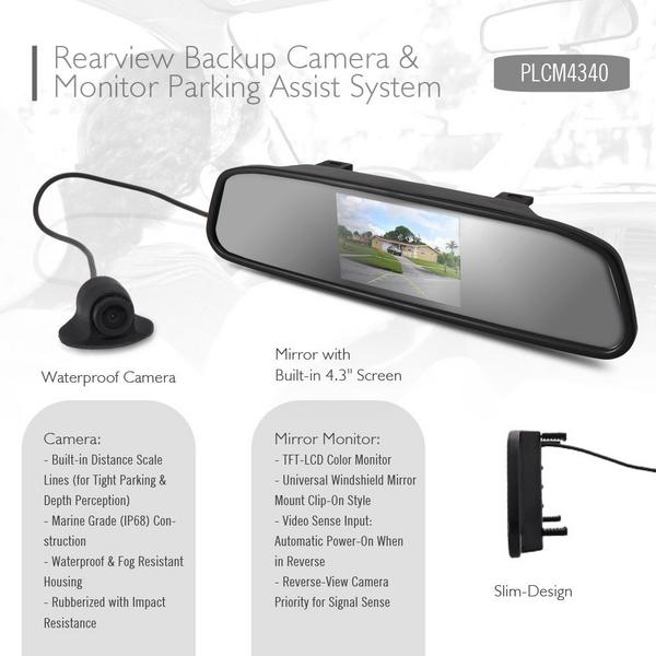 Pyle PLCM4340 Rear View Mirror Parking Revesing Back up Camera Assist System Thumbnail 4
