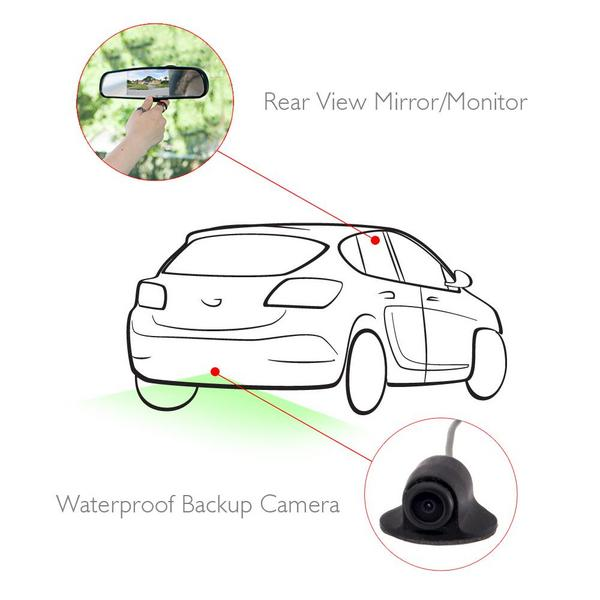 Pyle PLCM4340 Rear View Mirror Parking Revesing Back up Camera Assist System Thumbnail 5