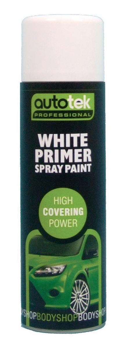 Autotek AT00PRW500 Automotive Quick Drying White Primer Spray Aerosol Paint 500ml