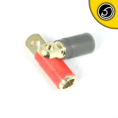 Bassface PRT4.1 Quality 12v Car Audio Gold Plated 0AWG 35mm Ring Terminals Pair Thumbnail 2