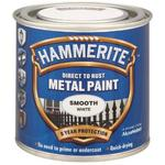 Hammerite Smooth Direct to Rust Metal 250ml White Paint Brush on