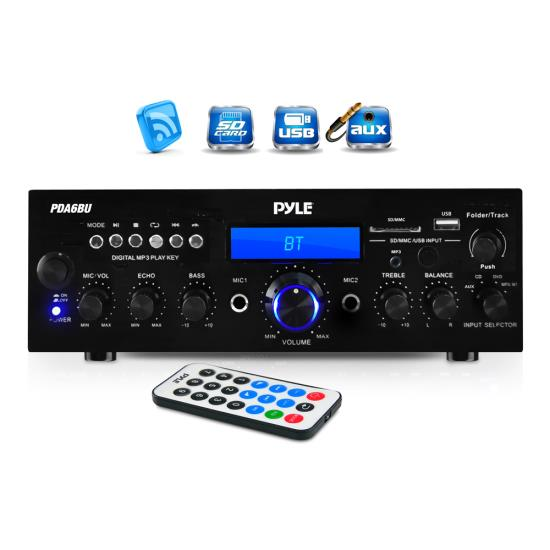 Pyle 200 Watt Bluetooth Stereo Amplifier Receiver FM USB SD AUX Microphone