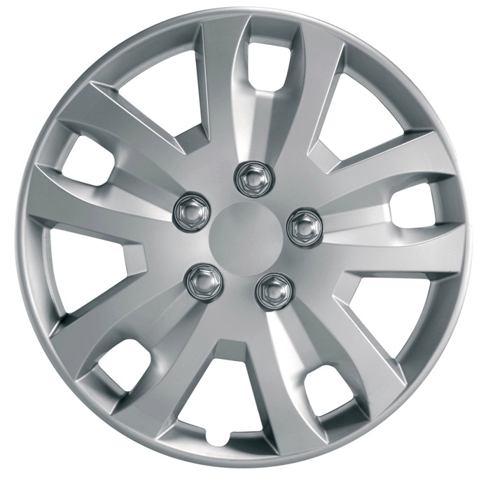 "Gyro 14"" Car Wheel Trims Hub Caps Plastic Covers Set of 4 Silver Universal"