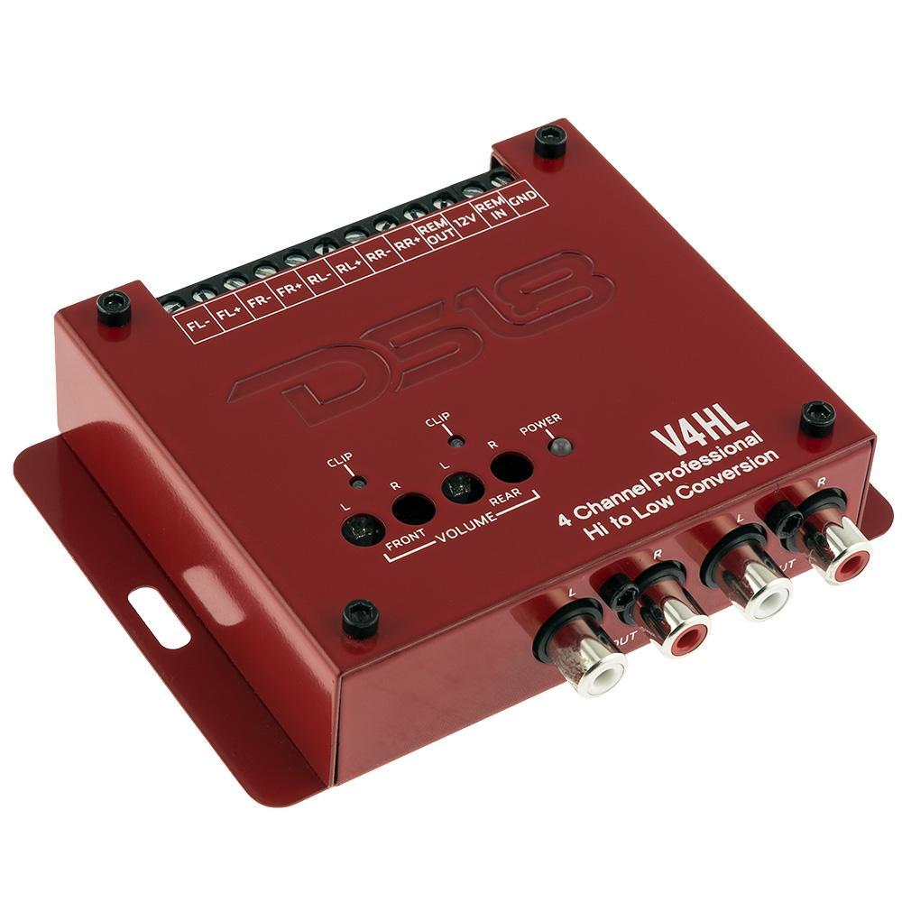 DS18 Car Amp Amplifier 4 Channel Audio Sterero Hi Low RCA Convertor V4HL Single
