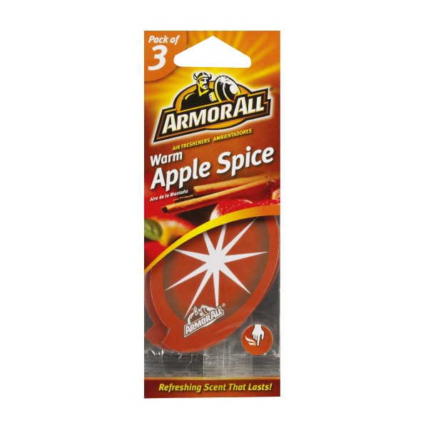 Armorall Car Office Home Long Lasting Warm Apple Hanging Air Freshener 3 Pack