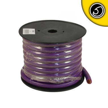 Bassface PWP00.1 OFC 00AWG 53+mm Purple Power Wire Cable Spool 15m 5929 Strand Thumbnail 1