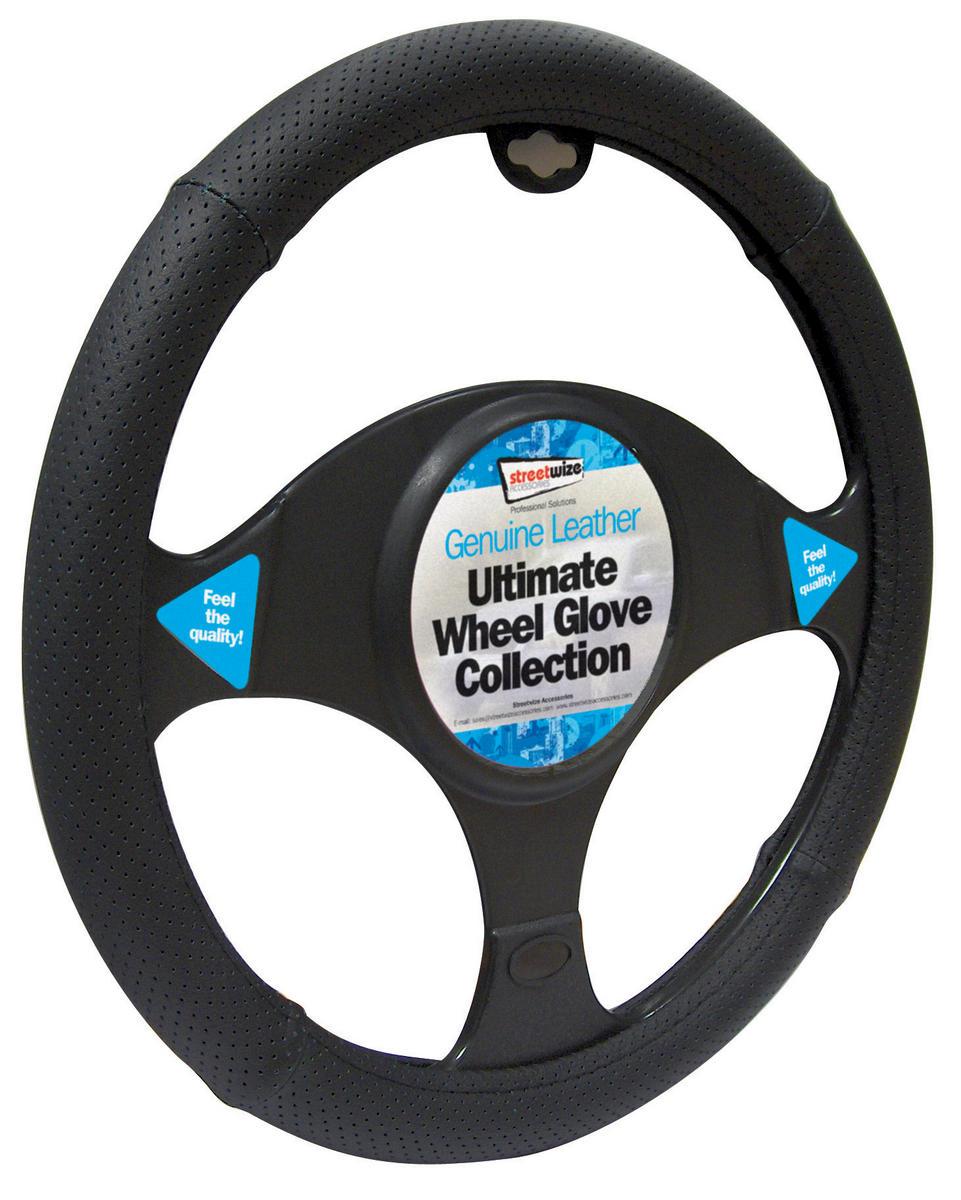 Streetwize SWWG8 Automotive Car Van Leather All Black Steering Wheel Glove Single