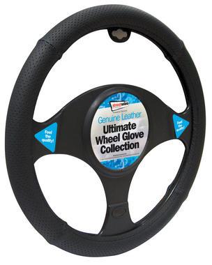 Streetwize SWWG8 Automotive Car Van Leather All Black Steering Wheel Glove Single Thumbnail 1