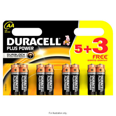 Duracell S6775 5+3 Free AA Batteries Long lasting Powerful Camera Games Toys Thumbnail 1