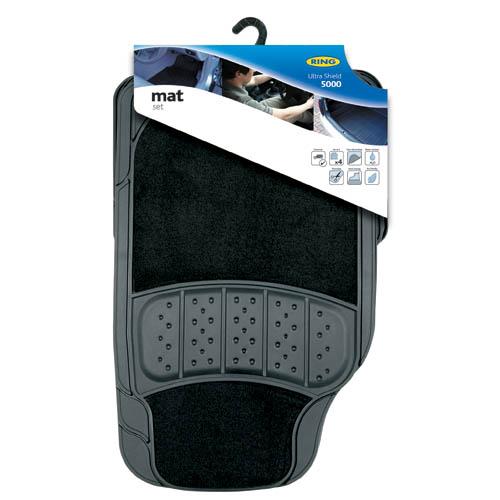Ring Automotive RMAT1 Heavy Duty Rubber Carpet Car Mats Ultra 5000 Black Set