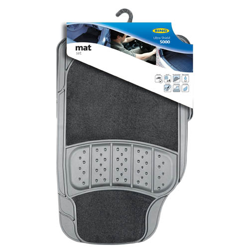 Ring Automotive RMAT2 Luxury Heavy Duty Rubber Carpet Car Mats Grey Set