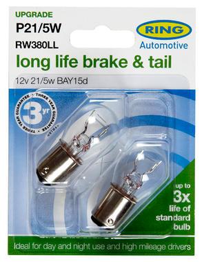Ring Automotive RW380LL Car Van 12V 21/5W P21/5W Brake Tail Long Life Bulbs Pair Thumbnail 2
