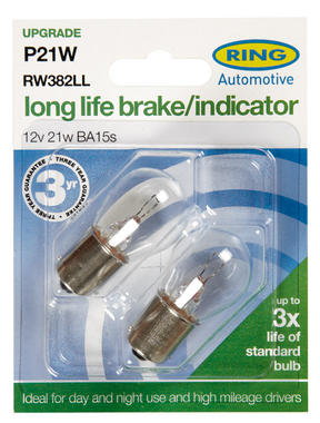 Ring Automotive RW382LL Car Van 12V 21W Brake Indicator Fog Long Life Bulbs Pair Thumbnail 2
