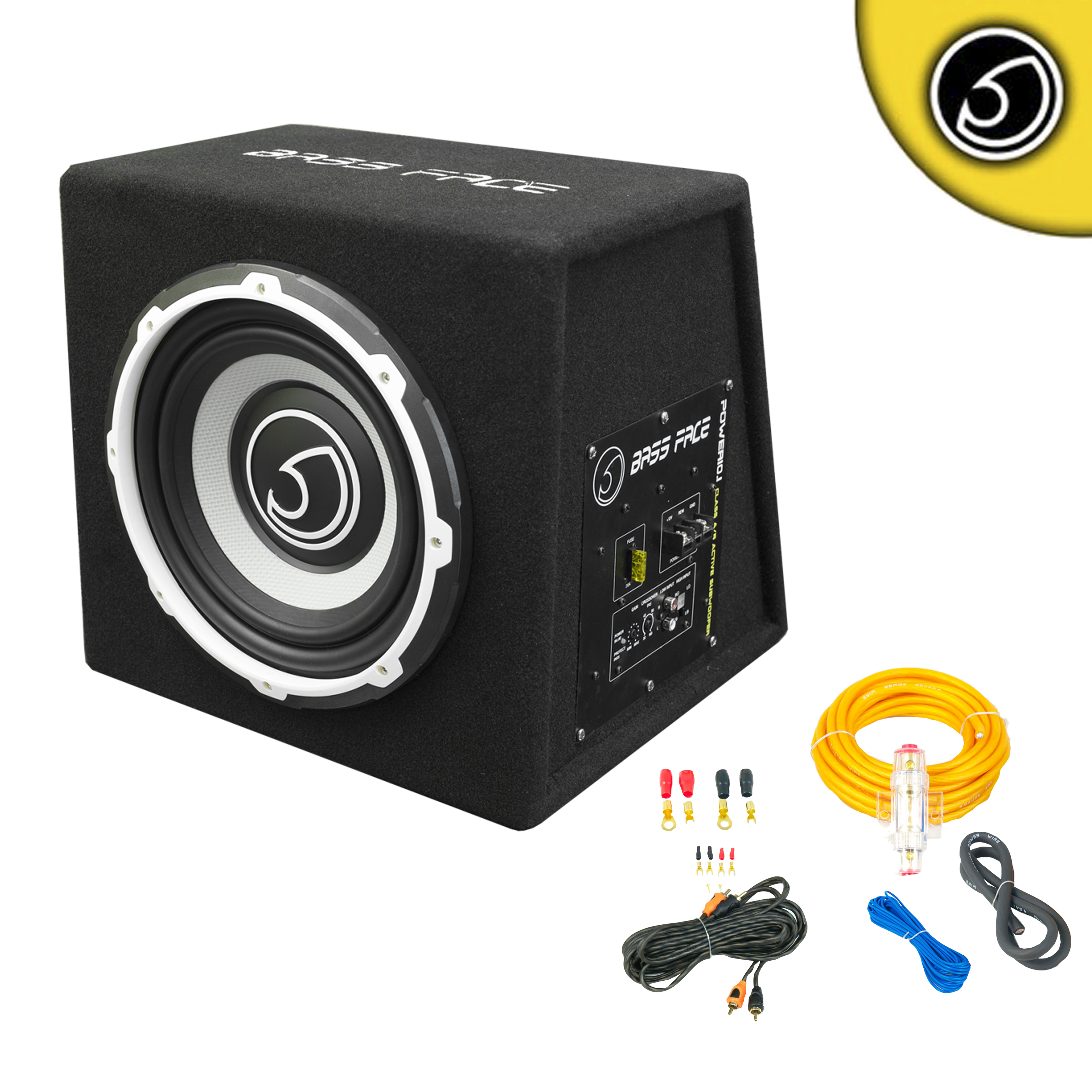 Bassface Power101 1000w 10 Inch Active Sub Amplifier Bass Box With 8 Gauge Power Wiring Twisted Prca Phono Cable Subwoofer