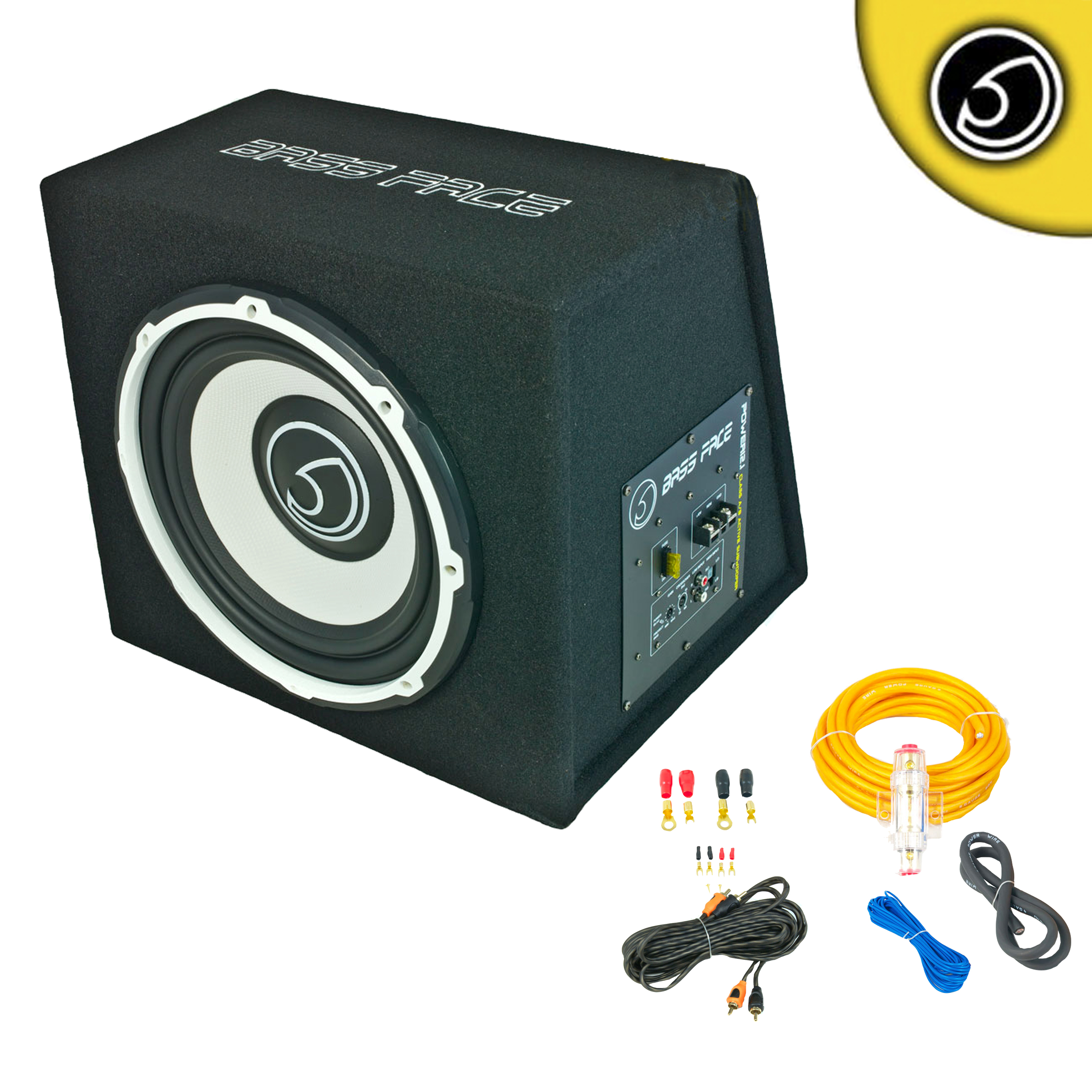 """Bassface POWER12.1 1300w 12"""" Inch Active Sub Amplifier Bass Box With 8 Gauge Power Wiring & Twisted PRCA Phono Cable"""
