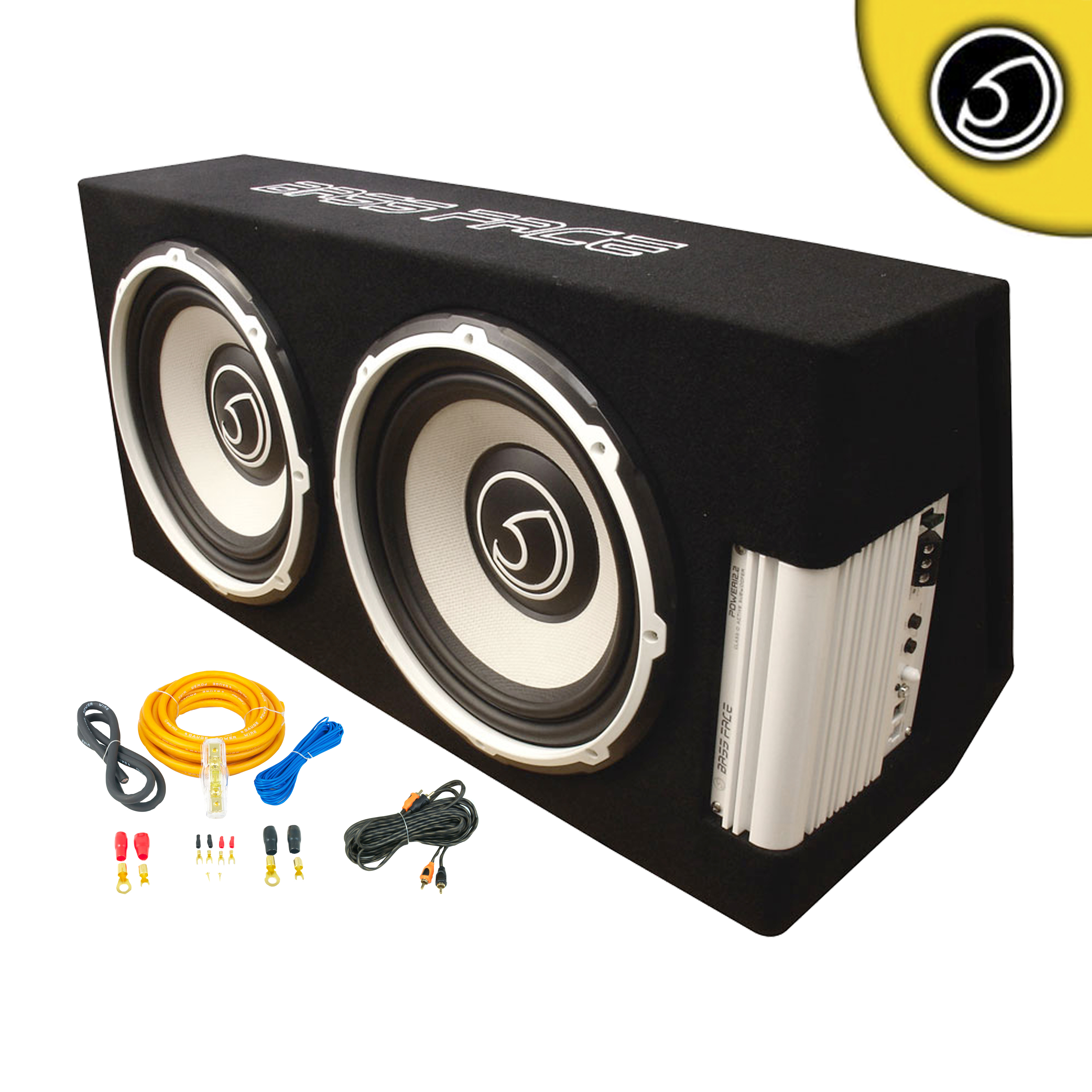 "Bassface POWER12.2. 2600w Twin 12"" Active Sub Amplifier Bass Box With 8 Gauge Power Wiring & Twisted PRCA Phono Cable"