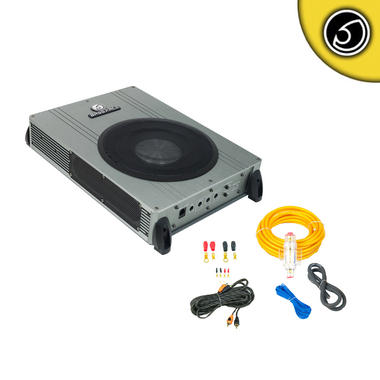 "Bassface POWER8.2 800w 8"" Inch Active Under Seat Sub Bass Box With 8 Gauge Power Wiring & Twisted PRCA Phono Cable Thumbnail 1"