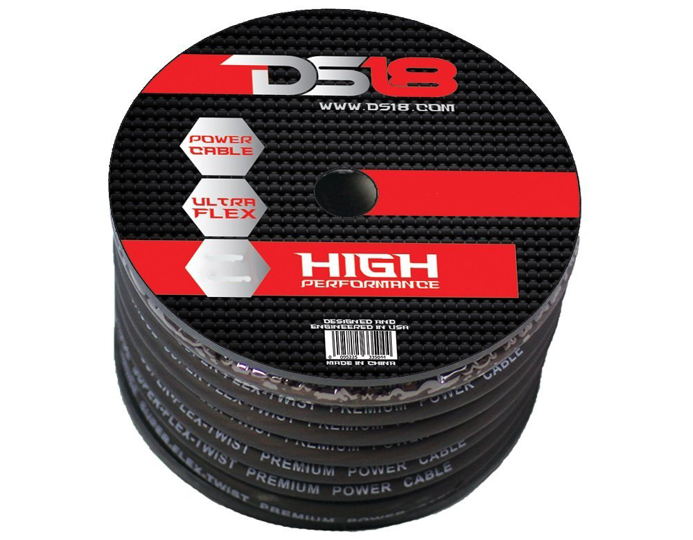 DS18 PW-OFC1/0GA-15BK Car Audio True 0 Gauge OFC Power Cable 15 Ft Roll Black