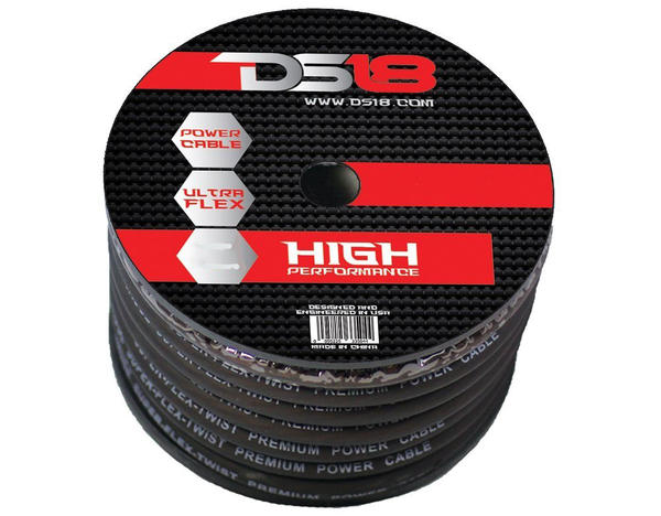 DS18 PW-OFC2/0GA-15BK Car Audio True 2 Gauge OFC Power Cable 25 Ft Roll Black Thumbnail 1