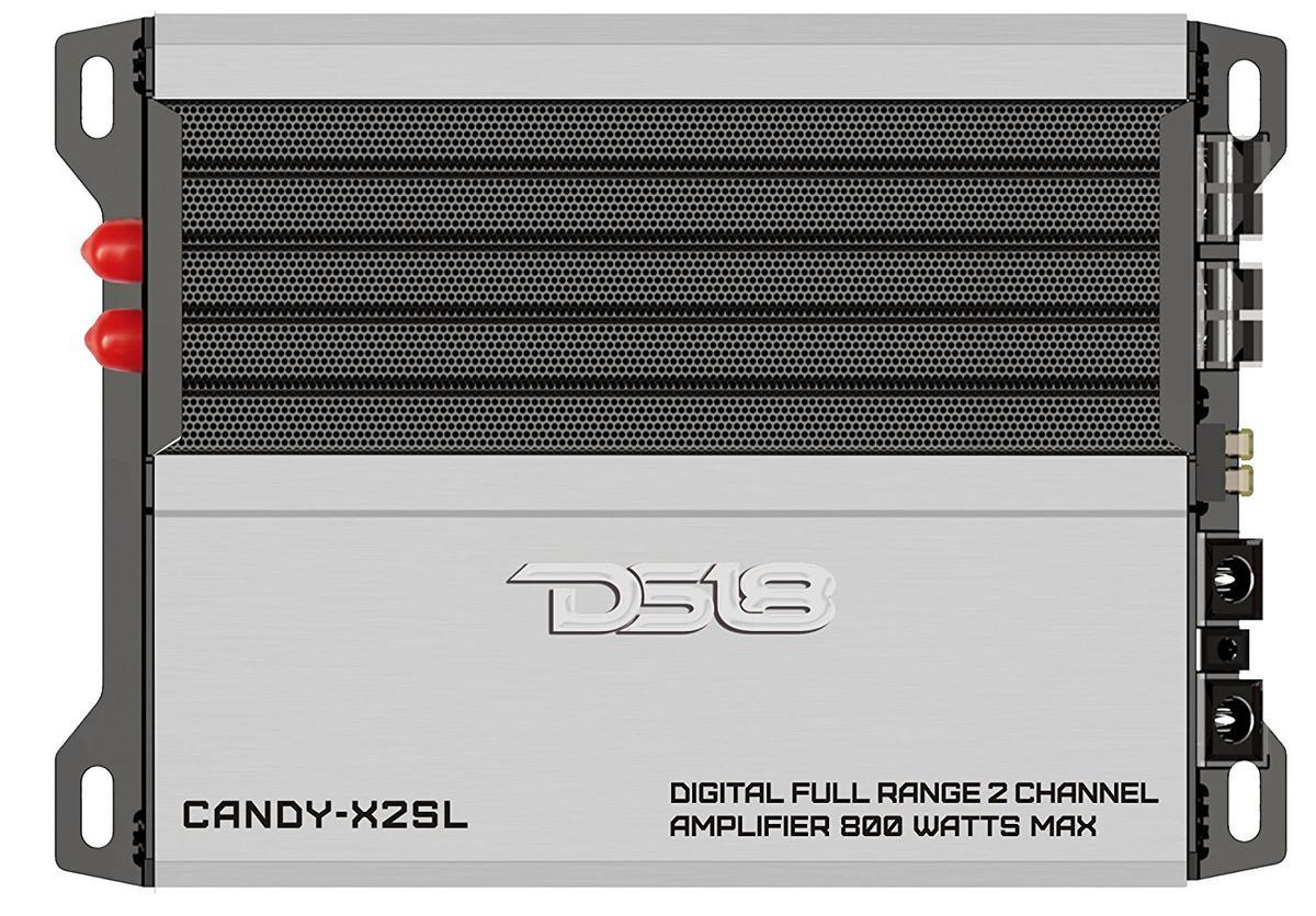 DS18 CANDY-X2SL Silver Car Audio 800 Watt 2 Channel Class D Amplifier Single