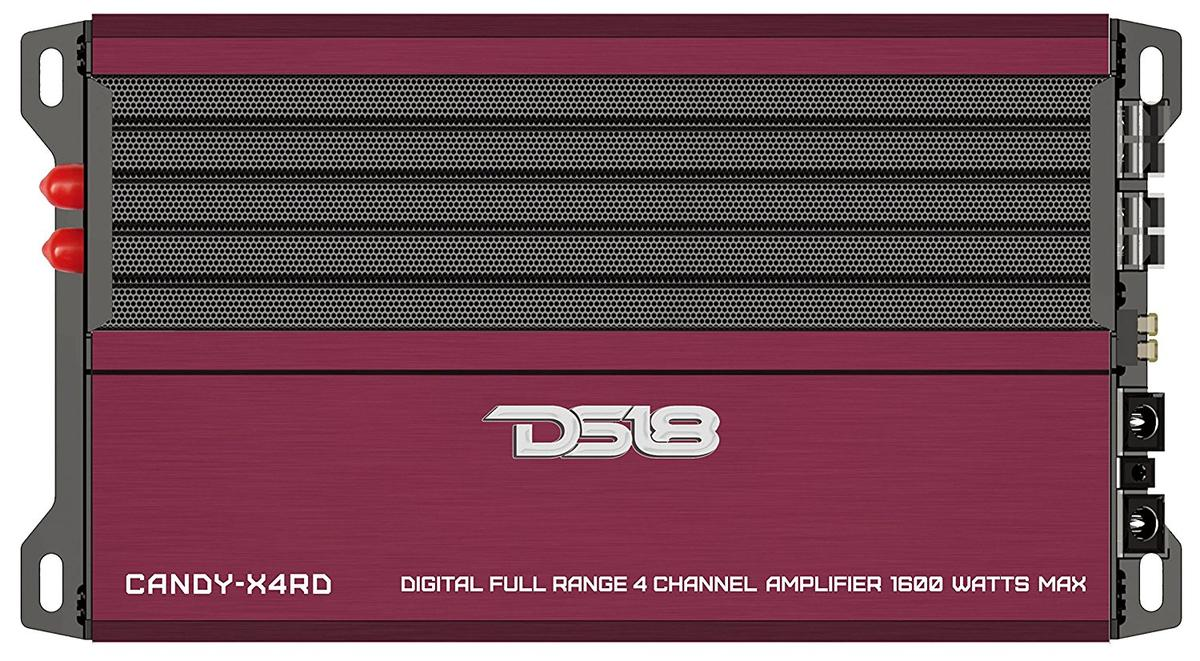 DS18 CANDY-X4RD Car Audio Red 1600 Watts Max 4 Channel Class D Amplifier Single