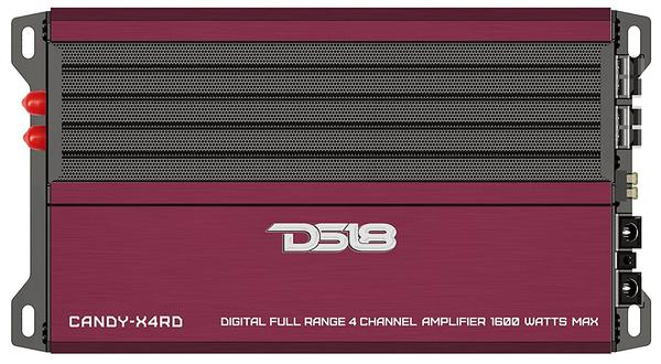 DS18 CANDY-X4RD Car Audio Red 1600 Watts Max 4 Channel Class D Amplifier Single Thumbnail 1