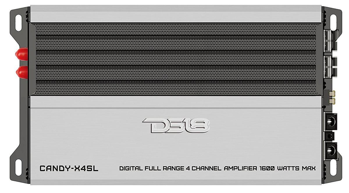 DS18 CANDY-X4SL Car Audio Silver 1600 Watt Max 4 Channel Class D Amplifier Single