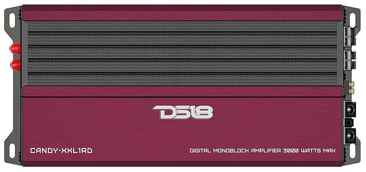 DS18 CANDY-XXL1RD Car Audio Red 3000 Watts Monoblock Class D Amplifier Single