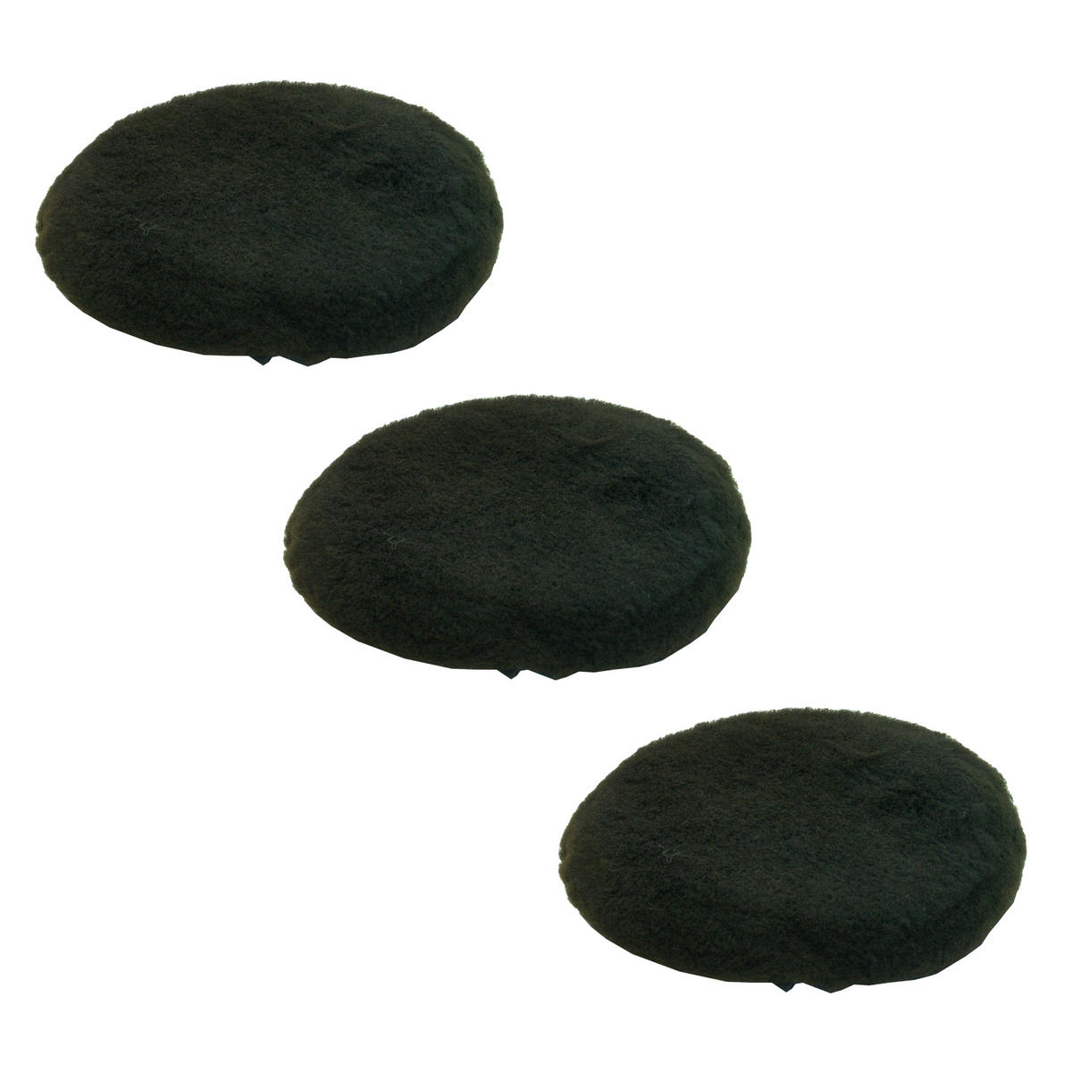 Car Cleaning 200mm Black Soft Lambs Wool Polishing Buffing Detailing Mop Head x 3