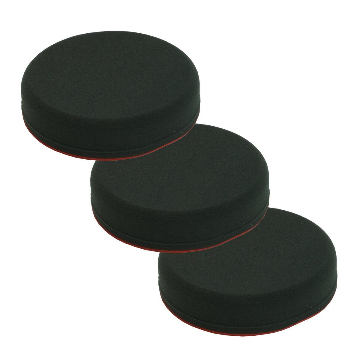 Car Cleaning 130mm Soft Black Velcro Polishing Cutting Detailing Mop Head x 3