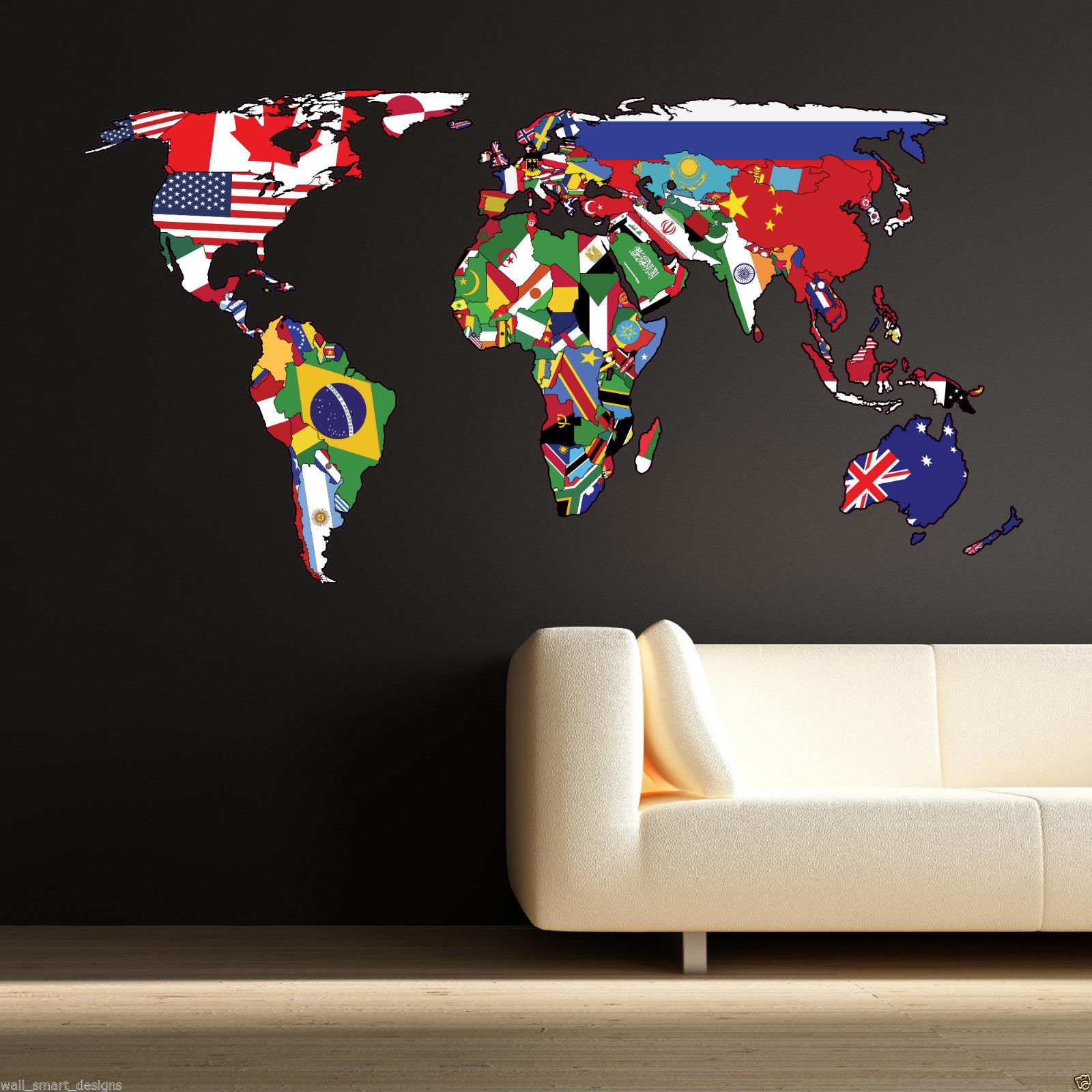 Full Colour World Map Atlas Office Bedroom Wall Art Sticker Decal Mural Transfer
