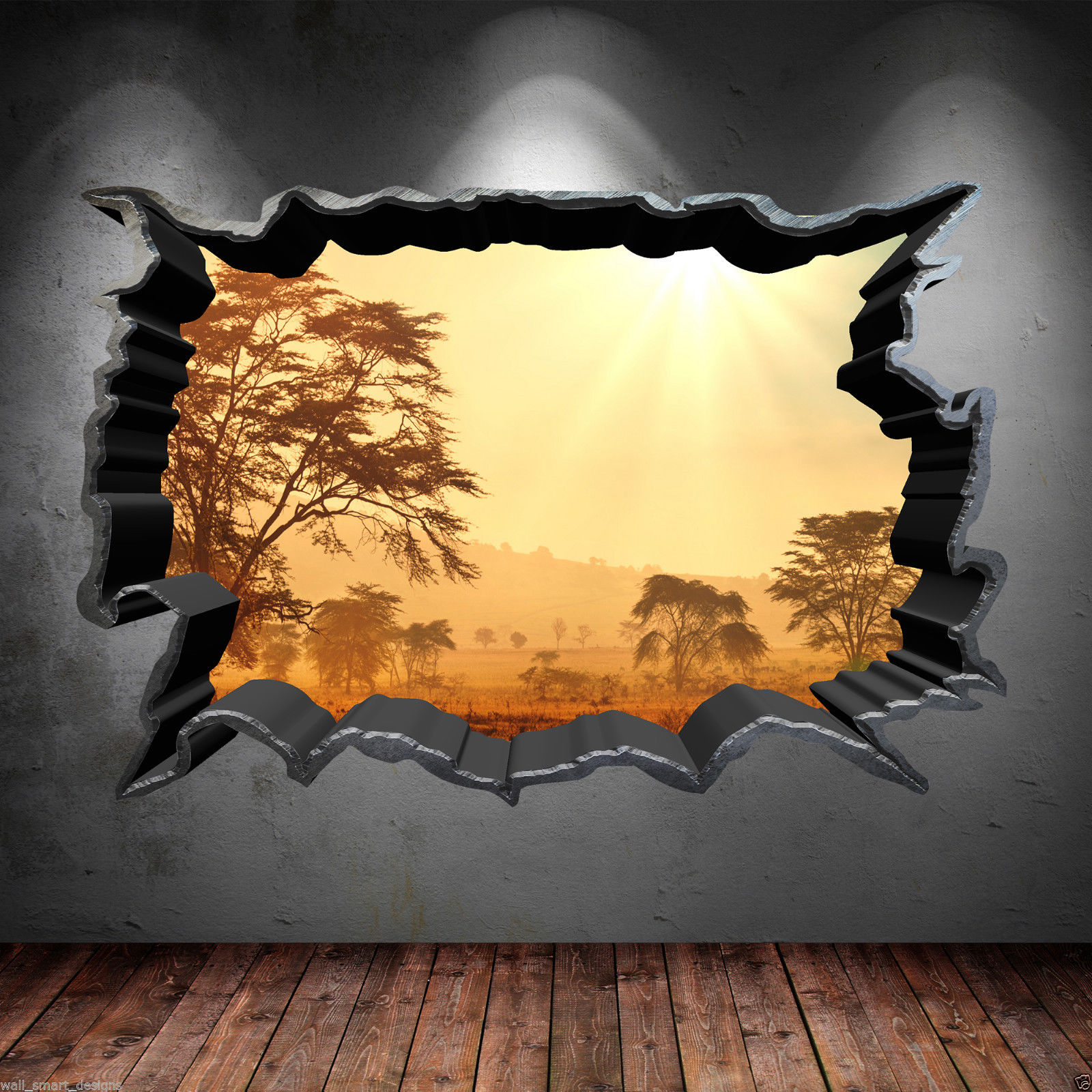 Thompsons Ltd | Cracked Hole Safari Home 3D Full Colour Wall Art ...
