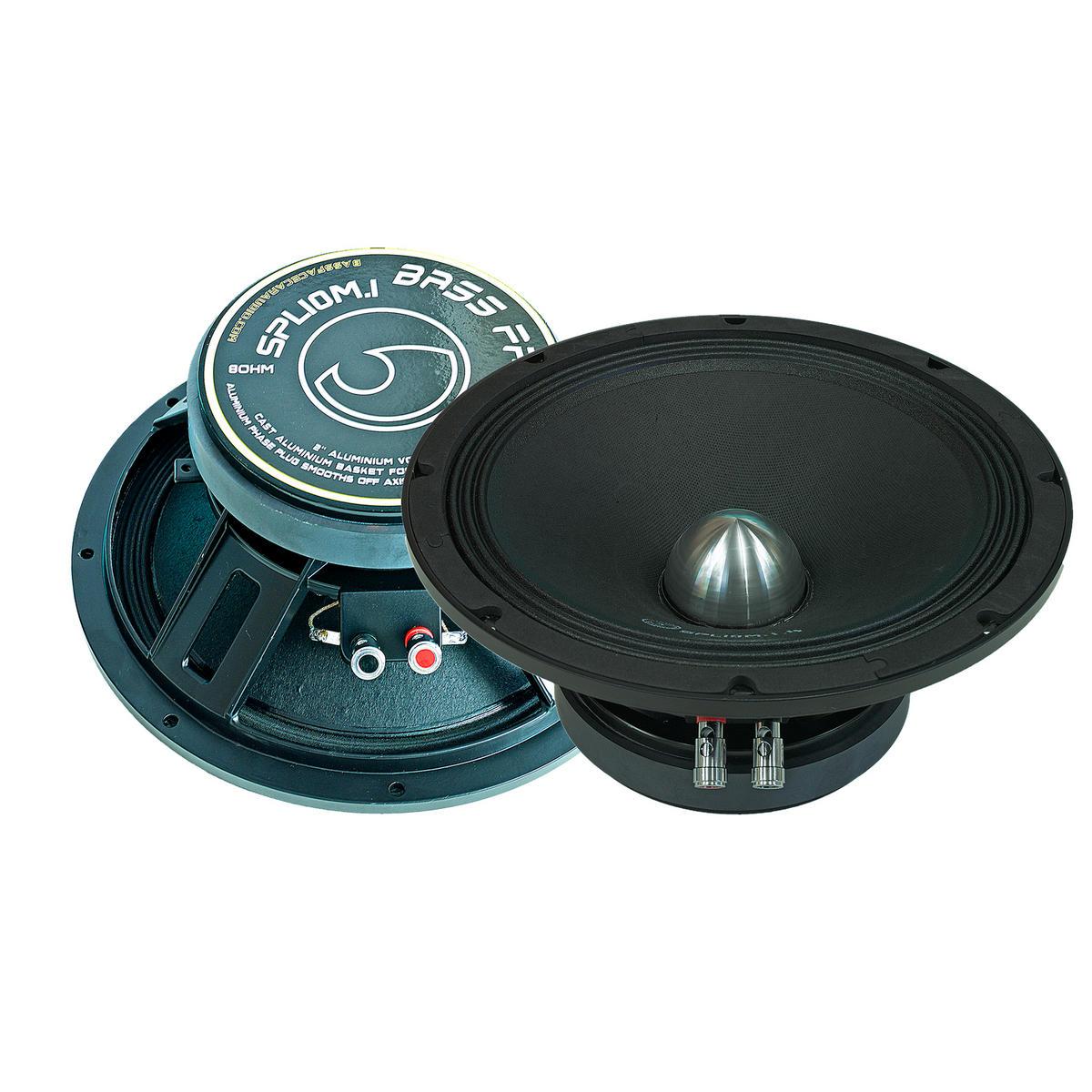 "Bassface SPL10M.1s 1600w 10"" 25cm 8Ohm Midrange Midbass Drivers SPL Speakers Pair"