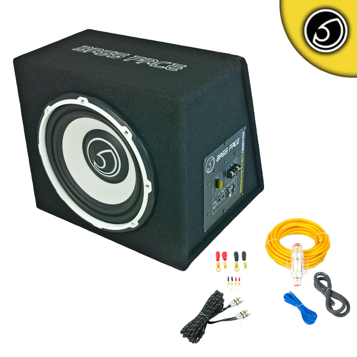 """Bassface POWER12.1 1300w 12"""" Inch Active Sub Amplifier Bass Box With Wiring Kit"""
