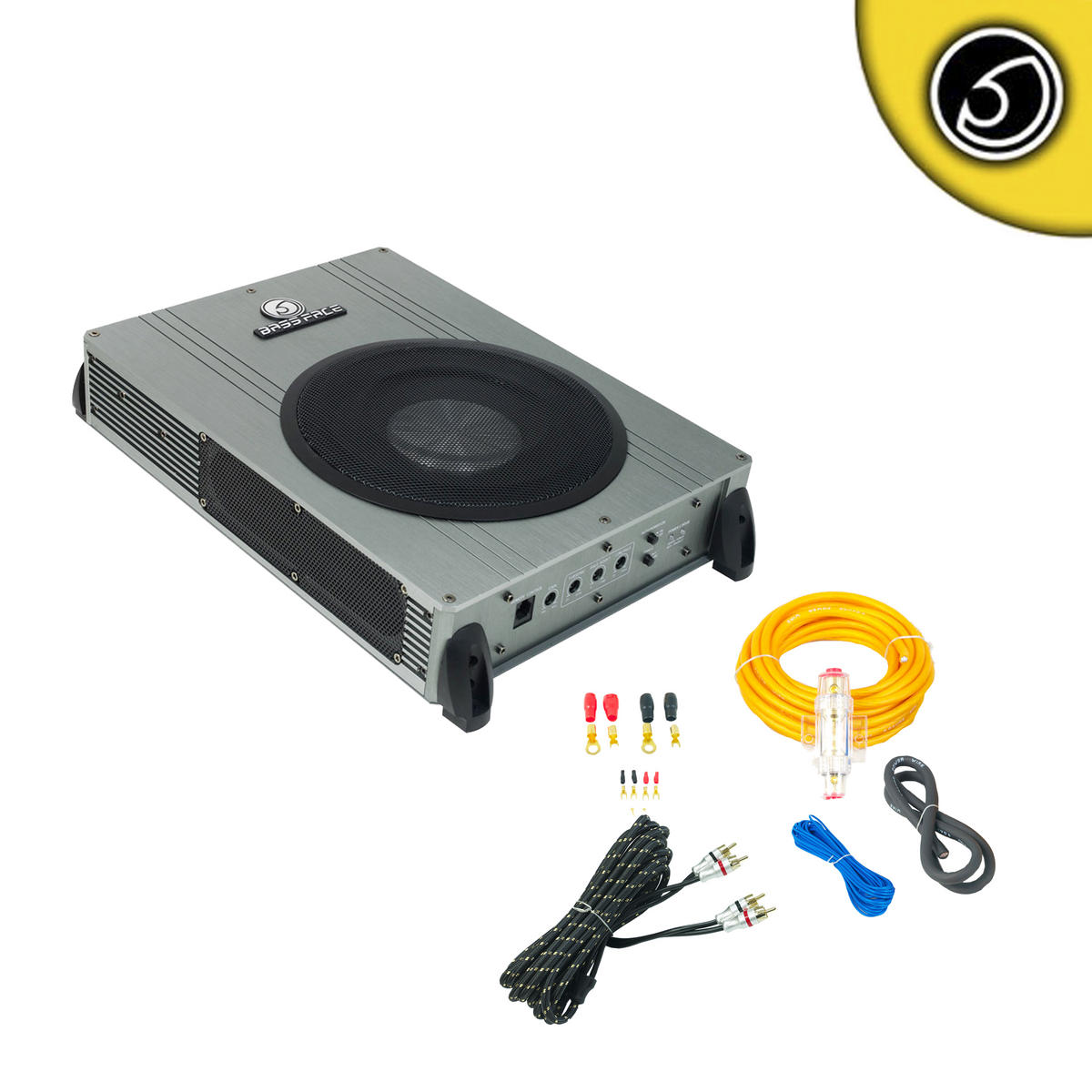 """Bassface POWER8.2 800w 8"""" Inch Active Under Seat Sub Bass Box With Wiring Kit"""