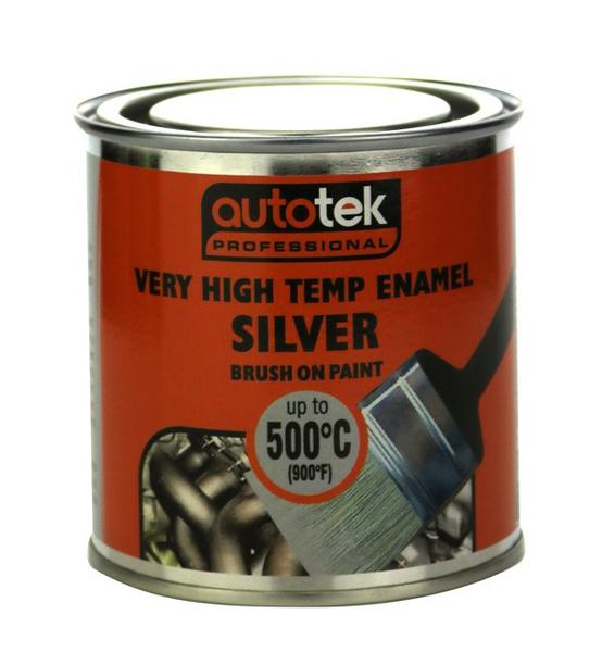 Autotek ATOOVHTS250 VHT Very High Temperature Silver Brush On Paint Single 250ml Thumbnail 1