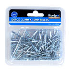 Blue Spot 09114 Autmotive Garage 100 Piece 3.2mm Aluminium Rivets Single