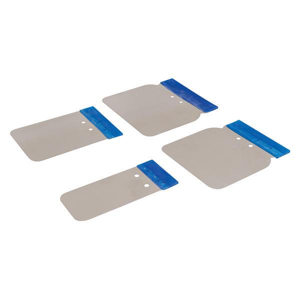 Silverline 427734 Car Bodyshop Stainless Steel Body Filler Application Set 4 Piece Thumbnail 1