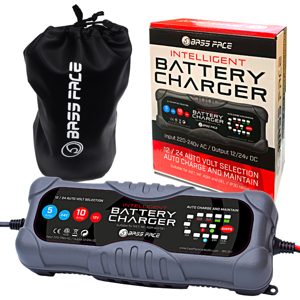 Bassface BFC10.1 2/5/10 Amp 12/24v Smart Microprocessor Car AGM Battery Charger