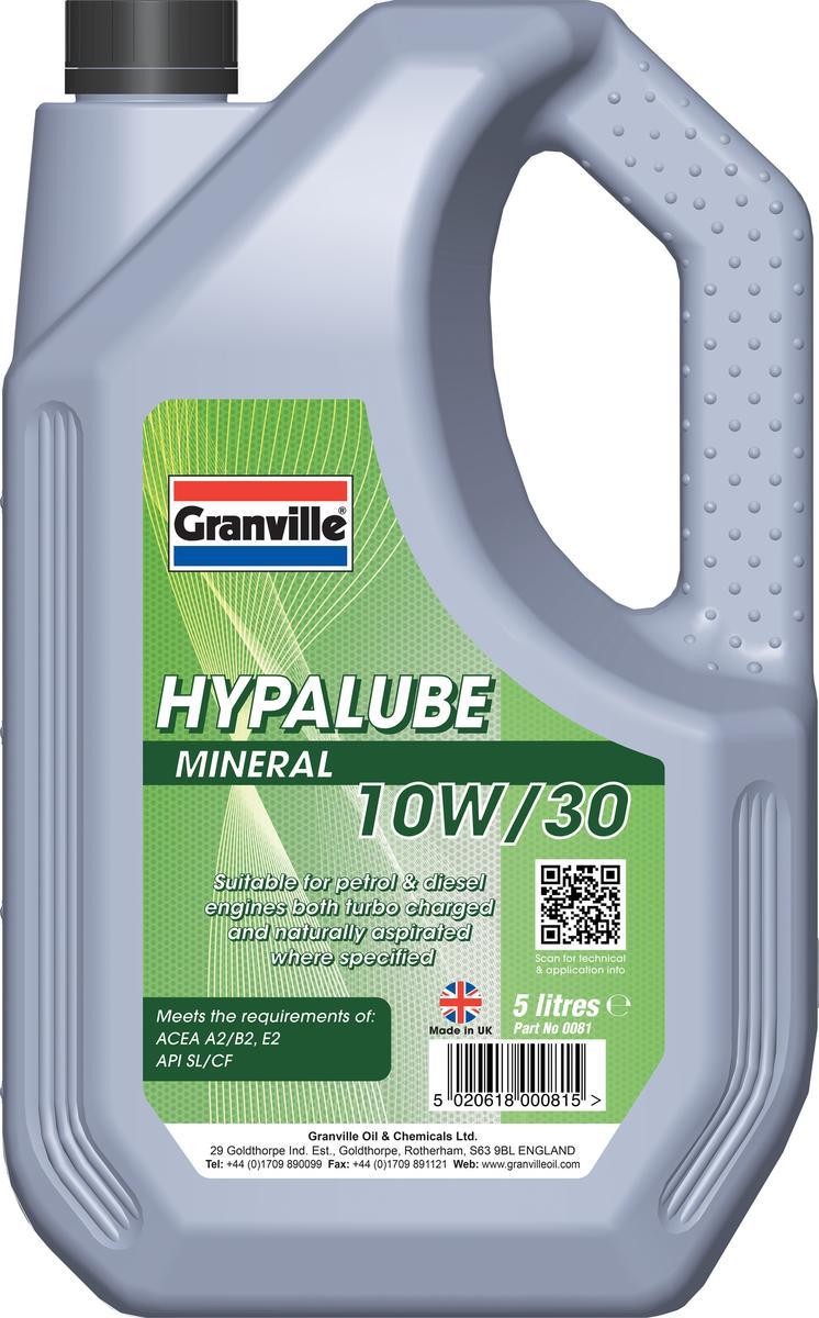 Granville 81 Automotive Motoring Mineral Hypalube 10W/30 Engine Oil 5 Litre