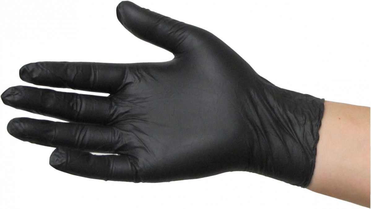 Aurelia 02-NITBLAC Mechanic Inspection Powder Free Durable Black Nitrile Gloves