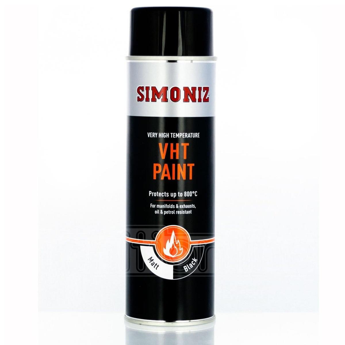 Simonize SIMVHT20D Black VHT Very High Temperature Spray Paint 500ml