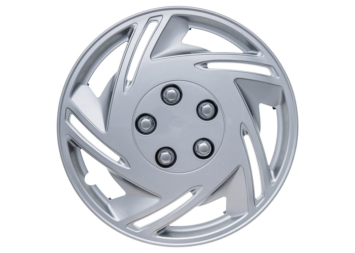 """Chase 14"""" Car Wheel Trims Hub Caps Plastic Covers Set of 4 Silver Universal"""