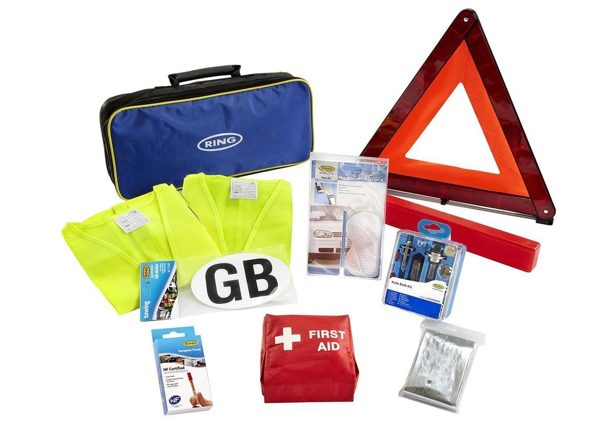 Ring Car Travel Abroad Kit European Driving Euro EU Emergency UK Warning Triangl