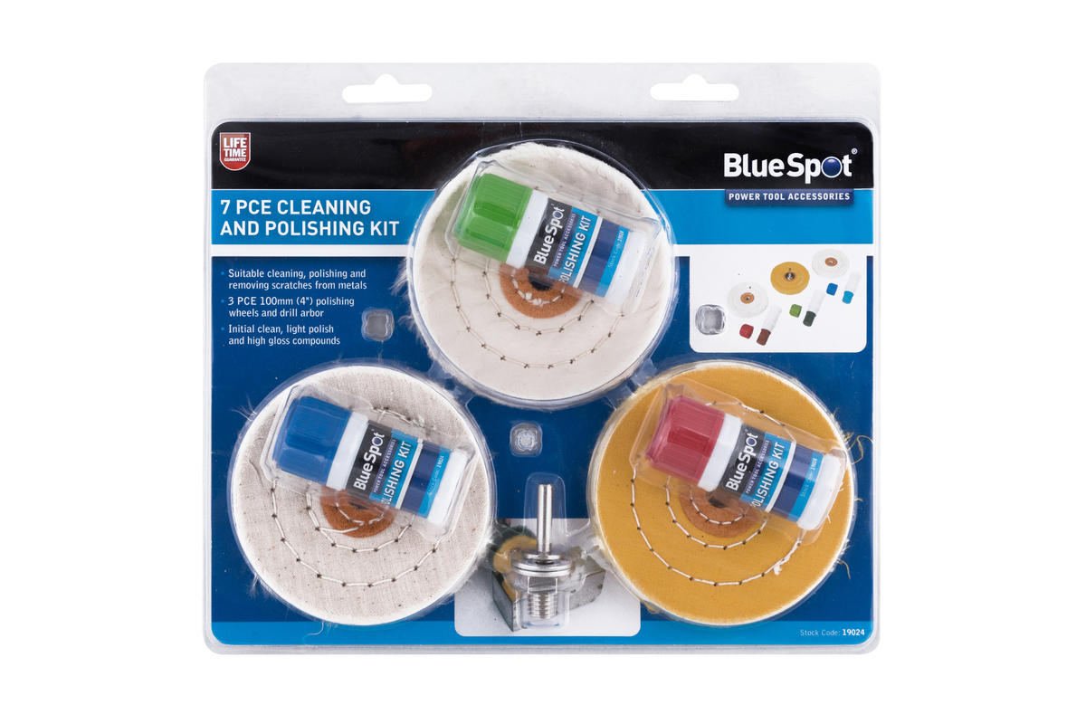 "Bluespot 7 Piece Metal Cleaning Polishing Compound 100mm 4"" Pads High Finish kit"